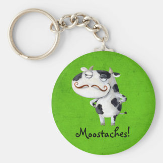 Cow with Mustaches Keychain