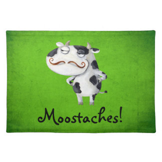 Cow with Mustaches Cloth Place Mat