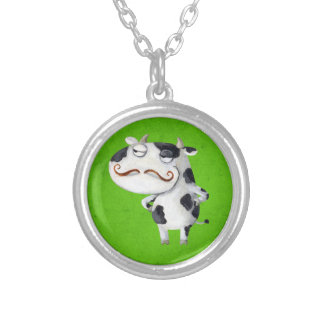 Cow with Mustaches Silver Plated Necklace