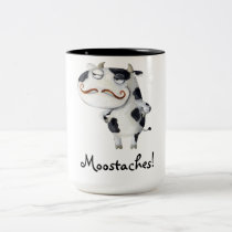 Cow with Mustaches Two-Tone Coffee Mug