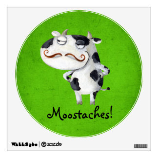 Cow with Mustaches Wall Decal
