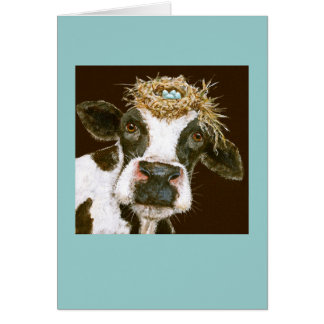 cow with nest hat card