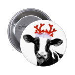 Cow with Reindeer Antlers 2 Inch Round Button
