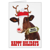 Cow with Reindeer Antlers and Santa Hat Card