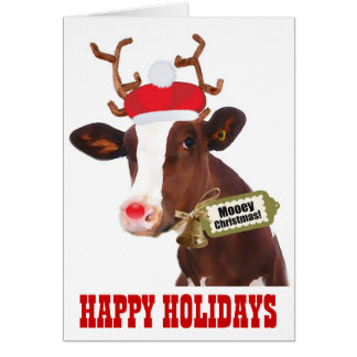 Cow with Reindeer Antlers and Santa Hat Greeting Card