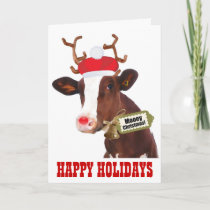 Cow with Reindeer Antlers and Santa Hat Holiday Card
