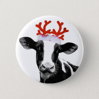 Cow with Reindeer Antlers Button