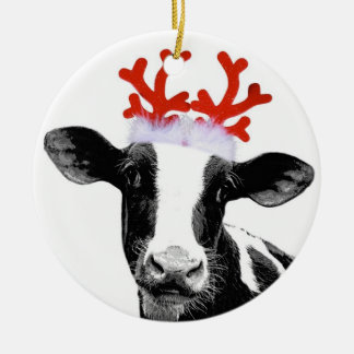 Cow with Reindeer Antlers Ceramic Ornament