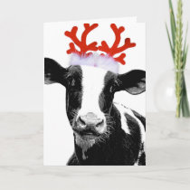Cow with Reindeer Antlers Holiday Card
