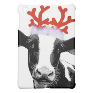 Cow with Reindeer Antlers Case For The iPad Mini