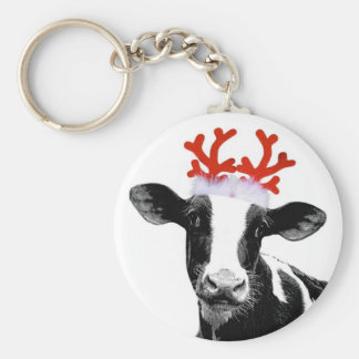 Cow with Reindeer Antlers Keychain