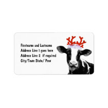 Cow with Reindeer Antlers Label