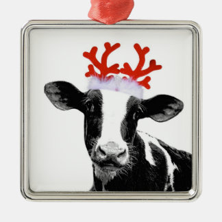 Cow with Reindeer Antlers Metal Ornament