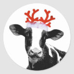 Cow with Reindeer Antlers Round Sticker