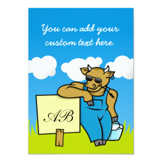 Cow with Sign 4.5x6.25 Paper Invitation Card