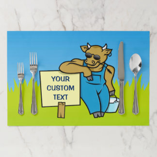 Cow with Sign Paper Placemat