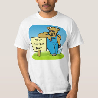 Cow with sign t-shirt