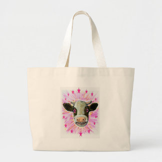 Cow with Stars in her Eyes Large Tote Bag