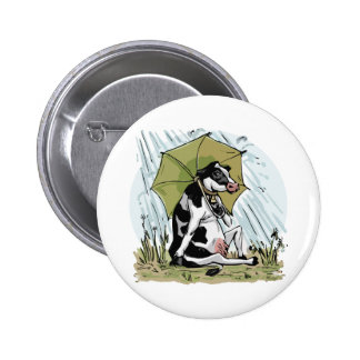 Cow with Umbrella by Mudge Studios 2 Inch Round Button
