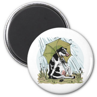 Cow with Umbrella by Mudge Studios 2 Inch Round Magnet