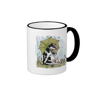 Cow with Umbrella by Mudge Studios Ringer Coffee Mug