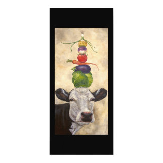 "Cow with veggies flat card 4"" x 9.25"" invitation card"
