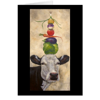 Cow with veggies greeting card