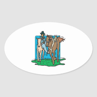 Cow Wrangling Oval Sticker