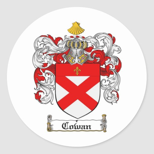 COWAN FAMILY CREST -  COWAN COAT OF ARMS CLASSIC ROUND STICKER