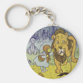 Cowardly Lion Wizard of Oz Book Page Basic Round Button Keychain