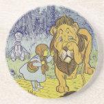 Cowardly Lion Wizard of Oz Book Page Drink Coaster