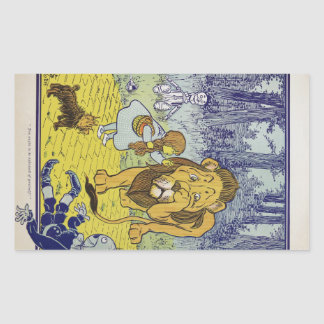 Cowardly Lion Wizard of Oz Book Page Rectangular Sticker
