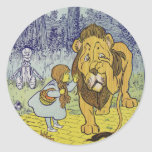 Cowardly Lion Wizard of Oz Book Page Round Sticker