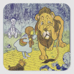 Cowardly Lion Wizard of Oz Book Page Square Stickers