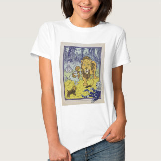 Cowardly Lion Wizard of Oz Book Page T Shirt