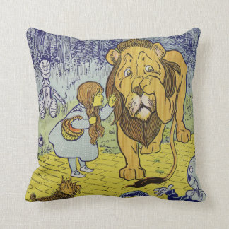 Cowardly Lion Wizard of Oz Book Page Throw Pillow