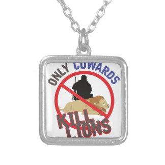 Cowards Kill Lions Square Pendant Necklace