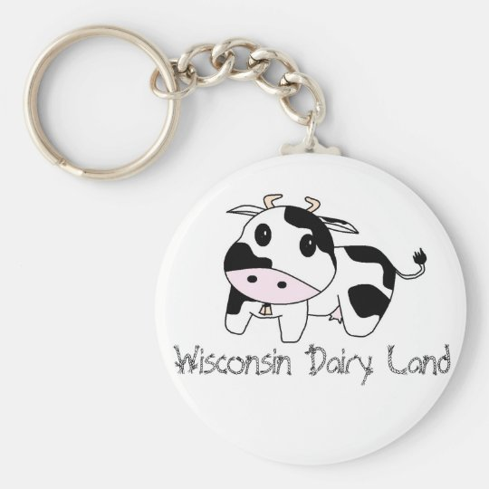 cowbell, Wisconsin Dairy Land Keychain