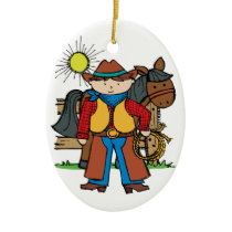 Cowboy3 Ceramic Ornament