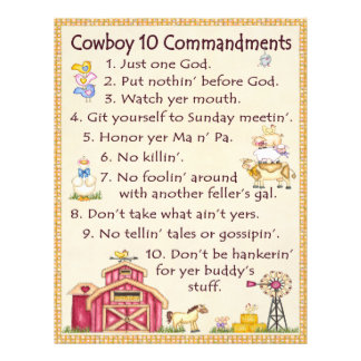 Cowboy 10 Commandments - Farm Fun Letterhead
