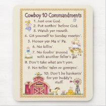 Cowboy 10 Commandments - Farm Fun Mouse Pad