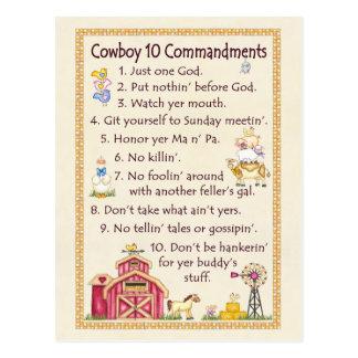 Cowboy 10 Commandments - Farm Fun Postcard