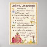 Cowboy 10 Commandments - Farm Fun Poster