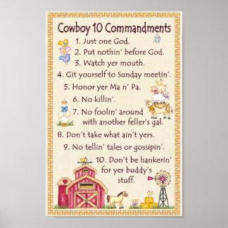 Cowboy 10 Commandments - Farm Fun Posters