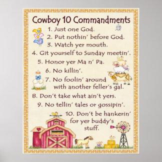 Cowboy 10 Commandments - Farm Fun (wide) Poster