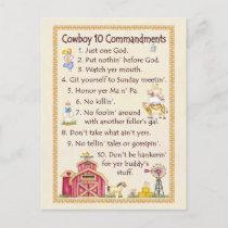 Cowboy 10 Commandments - Farm Postcard