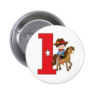 Cowboy 1st birthday pinback button