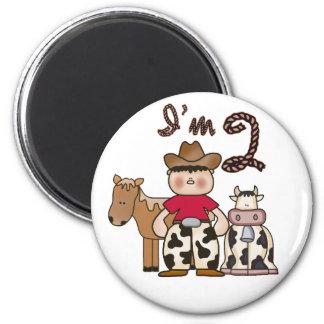 Cowboy  2nd Birthday 2 Inch Round Magnet