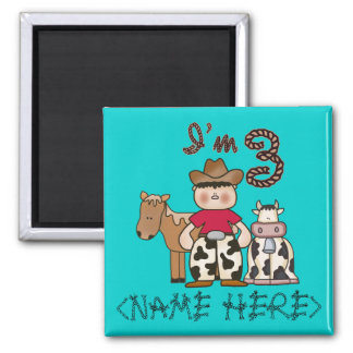 Cowboy  3rd Birthday Personalized 2 Inch Square Magnet