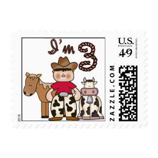 Cowboy 3rd Birthday Postage Postage Stamps